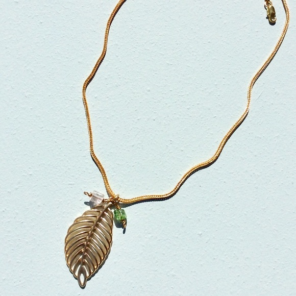 Plated Metal Necklace+Anthropologie Paper Bag NEW